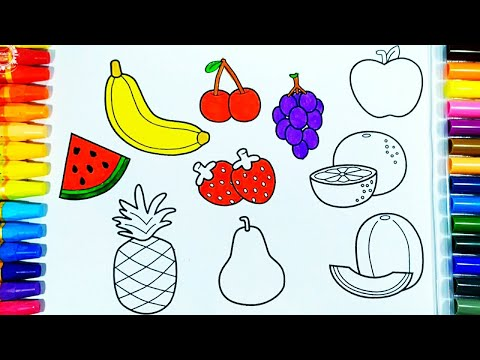 Belajar mewarnai gambar buah-buahan | drawing and coloring  pages for kids