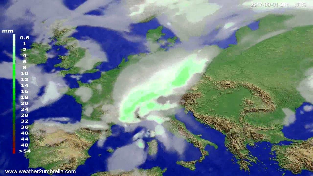 Precipitation forecast Europe 2017-08-28