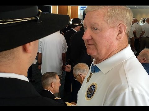 Medal of Honor recipients enter Convention Center ballroom for luncheon