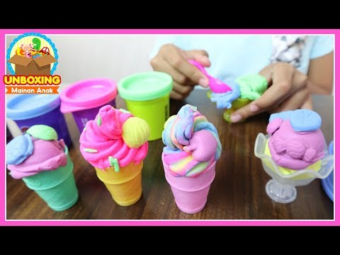 Mainan Anak Play Doh Ice Cream - Play Doh Swirl & Scoop Ice Cream - How To Make Ice Cream With Toy
