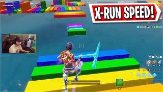 The Rainbow X-RUN Deathrun in Fortnite! (Fortnite Creative)