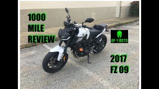 4. 1000 Mile Review - 2017 FZ 09 (MT 09)