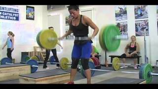Weightlifting training footage of Catalyst weightlifters. Tamara snatch, Jolie snatch, Dawn snatch, Tate snatch, Chyna block clean, Mike clean and jerk, Aimee Lee snatch Dion snatch, Steve clean and jerk, Eastman snatch, Alyssa snatch, Tate clean and jerk, Audra clean and jerk, Alyssa clean and jerk, Dave front squat. - Weight lifting, Olympic, weightlifting, strength, conditioning, fitness, exe