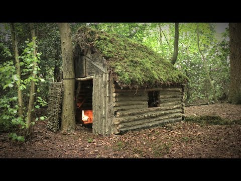 Off Grid Log Cabin with Moss Roof - Cruck Frame Shelter (Overnight Camp)