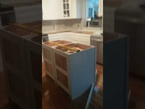 How to install a kitchen island using two 24