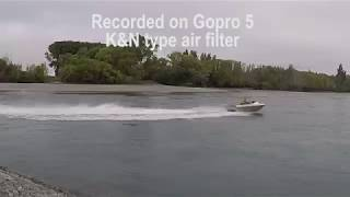 The sound difference between K&N style and Tractor style air cleaners on Kawasaki 300 Ultra powered Jetboat