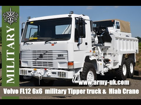 Volvo Hiab - Volvo FL12 6x6 Tipper truck & Hiab Crane & Clam 115-1 Used military vehicles for sale.