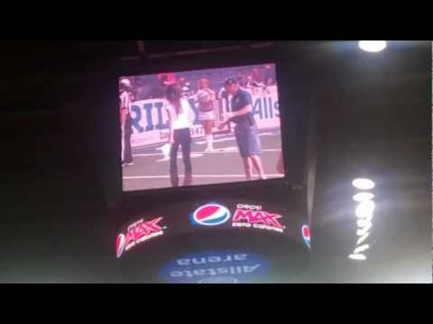 sportsandtorts - It's a kicking contest during a timeout at the Spokane Shock-Chicago Rush Arena Football League game June 3, 2012, at the Allstate Arena in Rosemont, Ill. Sh...