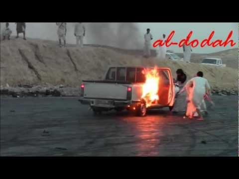 استعراض تفحيط في السعودية تنتهي بحريقة