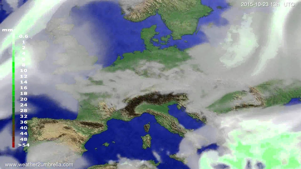 Precipitation forecast Europe 2015-10-20