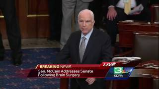 Sen. John McCain returned to the Senate Tuesday for a key health care vote. He delivered a message asking his colleagues to come together to reform the health care system.Subscribe to KCRA on YouTube now for more: http://bit.ly/1kjRAAnGet more Sacramento news: http://kcra.com/Like us:http://facebook.com/KCRA3Follow us: http://twitter.com/kcranewsGGoogle+: http://plus.google.com/+kcra