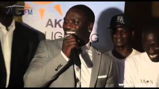 http://www.akon.com/ Akon Lighting Africa in the village of Thiambokh, Senegal and Akon gave speech in wolof (one of Senegal's unofficial language)