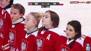 Młode hokeistki po wygranej z UK śpiewają (bardzo żywiołowo) Hymn polski.