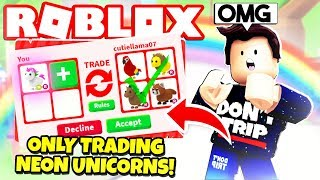 I ONLY Traded NEON UNICORNS in Adopt Me! NEW Adopt Me Pet Toys Update (Roblox)