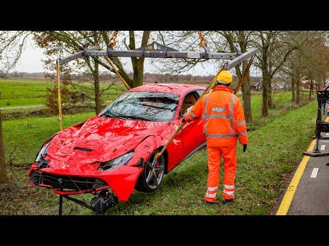 Driver crashes Ferrari F12 Berlinetta while riding with grandson