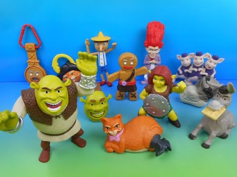 2010 SHREK FOREVER AFTER BOXED SET OF 12 McDONALD'S HAPPY MEAL KID'S MOVIE TOY'S VIDEO REVIEW