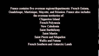 France contains five overseas regions/departments: French Guiana, Guadeloupe, Martinique, Mayotte, and Réunion. France also ...