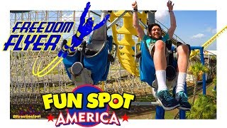 www.ClickToTweet.com/R4e29Experience my Riders Cam of Freedom Flyer with this 60 FPS HD video. If you sit in the back couple of rows you can experience VR with the all new state of the art virtual reality experience developed by VR Coaster at Fun Spot America Orlando in Orlando, Florida.For more information visit: ►► https://fun-spot.com/orlando/STATISTICS:Opened: 5/2013Roller Coaster, Steel, Suspended, FamilyMake: VekomaModel: Suspended Family Coaster / 395mLength: 1,295.9 ftHeight: 64.3 ftInversions: 0Speed: 34.2 mphElements: Booster Wheel Lift HillDimensions: 294.9 ft x 161.1 ftCapacity: 758 riders per hourDetailsTrains: Single train with 10 cars. Riders are arranged 2 across in a single row for a total of 20 riders.CREDIT: RCDB STICKERS NOW AVAILABLE HERE: ►► http://bit.ly/2lSEsJlBusiness Contact: ►► AttractionSpot@Outlook.comSupport, Questions, Concerns, and Copyright issues: ►► AttractionSpot@Outlook.comSupport Me On Patreon Here: ►►https://www.patreon.com/DeathbyillusionLive.me: ►► AttractionSpotSecond channel: ►► https://www.youtube.com/DeathbyillusionVlogsMy Website: ►► http://www.AttractionSpot.comFollow me on Twitter: ►►http://www.twitter.com/AttractionSpotFollow Me On Instagram: ►► AttractionSpotFacebook Page: ►►http://www.facebook.com/AttractionSpot Add Me On Google Plus: ►►http://www.plus.google.com/1041821208...Send Mail To: ►►Attraction Spot P.O. BOX 6821 BUENA PARK CALIFORNIA 90622 UNITED STATESAlso be sure to subscribe, click the bell icon to join the NOTIFICATION SQUAD and get notified of new videos I release to my channel, and SMASH THE LIKE BUTTON if you liked this and comment on my video thanks!