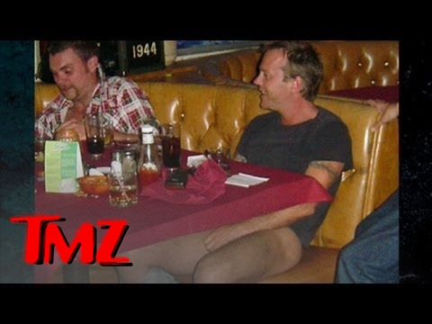 Kiefer - Kiefer Sutherland gets liquored up at a Calgary bar, so naturally, the clothes are coming off!