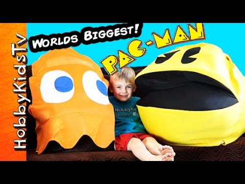 Worlds Biggest PAC-MAN Egg! Surprise Toys, Video Game Clyde Retro HobbyKidsTV