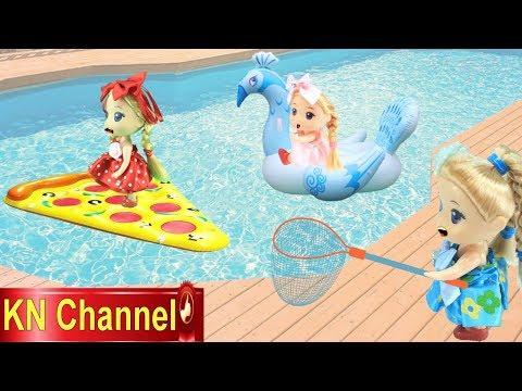 Đồ chơi trẻ em BÚP BÊ KN Channel CHƠI PHAO BÁNH PIZZA PHAO DƯA HẤU VÀ PHAO CON CÔNG - Thời lượng: 11:00.