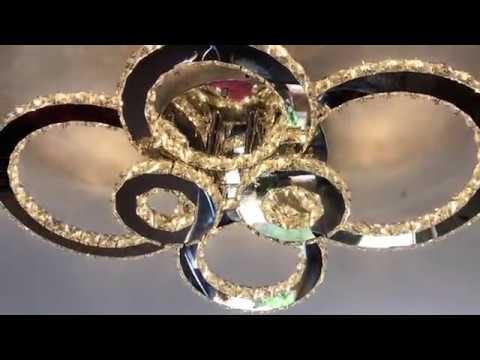 VINGO® LED Kristall Deckenleuchte Kronleuchter einstellbar Hängeleuchte Fernbedienung