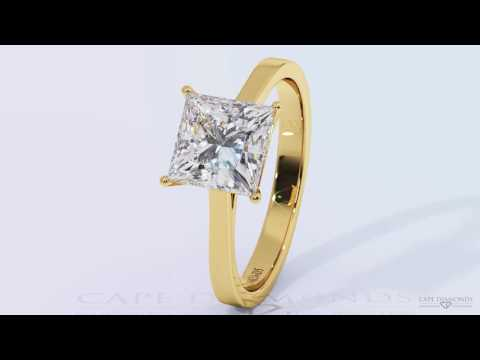 Four Claw Princess Cut Solitaire Yellow Gold Diamond Engagement Rings - Cape Diamonds