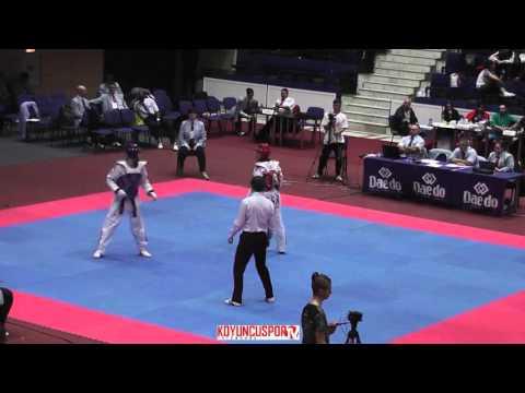 58kg Quarterfinal Garbanescu,Edi (ISR) vs (FRA) Bonnet, Kylian (-21 European TKD Championships 2015) (видео)