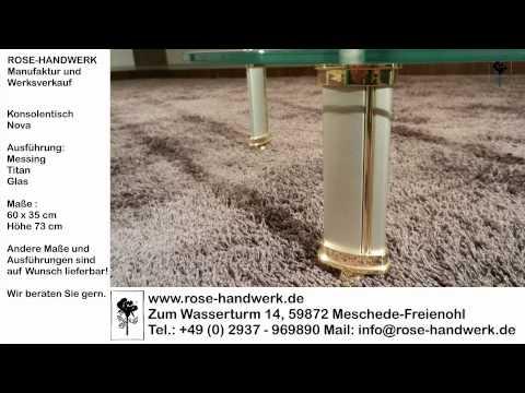 Konsolentisch Nova Messing Titan Glas