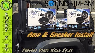 In this episode I install a set of Soundstream component speakers in the sound bar and the dash along with an amplifier in Project Dirty Willy.Patreon - https://www.patreon.com/rockyxtvFacebook - https://www.facebook.com/rockyxtv/Speakers - http://soundstream.com/product/rc-6/Amp - http://soundstream.com/product/st4-1000d-3/Test Music - Song: Culture Code - Make Me Move (feat. Karra) [Tobu Remix]  NCS ReleaseMusic provided by NoCopyrightSounds.Watch: https://youtu.be/MRwmxS1AL6EDownload/Stream: http://ncs.io/TobuRemixCrCamera - Sony FDR-AX33 4K HandyCamCamera - Anart Action Cam 140 degreeCamera - Anart Action Cam 170 degreeMicrophone - Saramonic SR-WM4C Wireless Microphone SystemMicrophone - Saramonic VmicMixer - Saramonic SR-AX100 Audio MixerTripod - Ravelli AVTP Pro Video Tripod with Fluid Drag HeadLighting - LimoStudioEditing - Adobe Premiere ProDirty Willy - 2015 Jeep Wrangler Willys Wheeler---Mailing Address---Rocky X TVP.O. Box 1437Grove City, OH 43123-1437