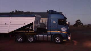 South African 2013 Volvo FH13 520 with 8 inch loud pipe starting up and pulling away. Super sounding rig hauling a load of maize with a bottom dumper interlink (B-double) with a gross weight of 56000kg (123200lbs).
