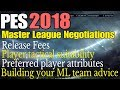 Pes 2018  Master League Negotiations  Tactical Suitability Release Fees Buidling Your Ml Team