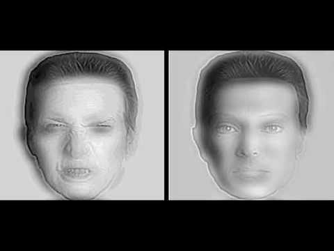 「[錯覚]怒っている男性と穏やかな男性の顔が距離をとると入れ替わり...」のイメージ