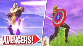Fortnite Avengers ENDGAME LTM Gameplay! (Iron Man, Thor, Cap. America)