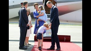 Two-year-old Princess Charlotte stole the show in Germany as she shook hands with a defence attaché after touching down in Berlin. The Duke and Duchess of Cambridge are currently on a goodwill trip aiming to maintain friendly relations with the EU after Brexit.