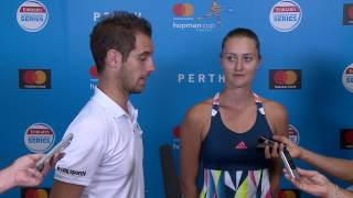 Mladenovic/Gasquet (FRA) press conference after their victory in the Mastercard Hopman Cup 2017 Final.