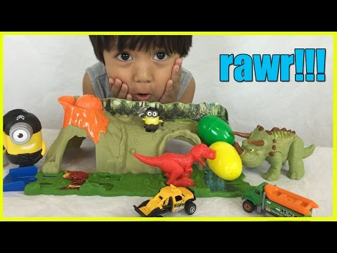 DINOSAUR TOYS Matchbox Mission Dino Raiders Jurassic World Surprise Eggs Minions  Ryan ToyReview