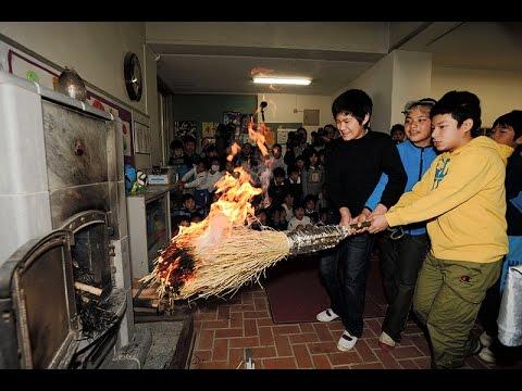 山の学校の冬支度-六甲山小で火入れ式