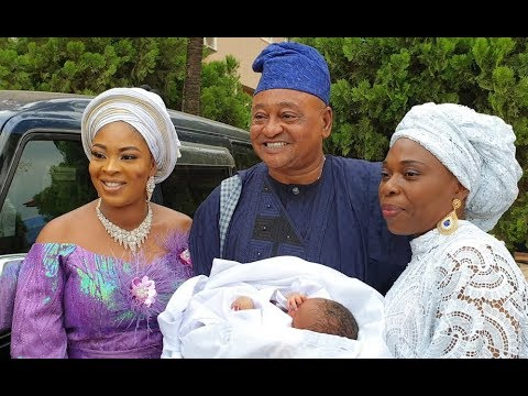 Father & daughter! Jide Kosoko Snap With Bidemi Kosoko And His Grandchild At The Naming Ceremony