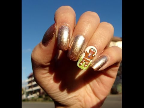 Metallic gradient with hand painted Gingerbread man ~~ Nail art Tutorial ~~