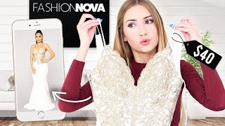 TRYING ON FASHIONNOVA PROM DRESSES!! Round 2!!