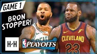 LeBron James vs Marcus Morris Game 1 ECF Duel Highlights (2018 NBA Playoffs) Cavs vs Celtics - SICK!