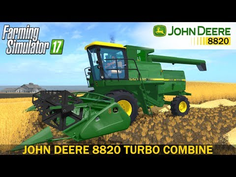 John Deere 8820 with header and trailer v1.0