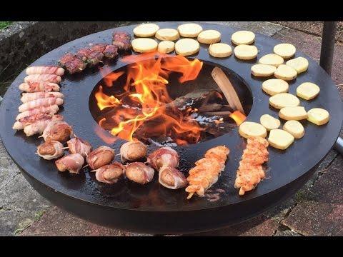 Feuerschale aus Stahl mit Teppanyaki Grillring
