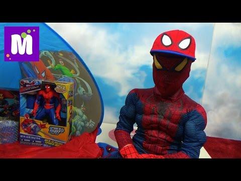 Макс Человек - Паук стреляет паутиной и открывает много игрушек в палатке Spider-Men a lot of toys (видео)