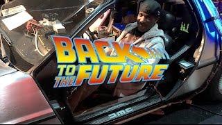 Phoenix James going 'Back to the Future' in the DeLorean time machine