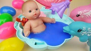 Video Baby doll Dolphin swim and Surprise eggs Slime Shellfish bath toys MP3, 3GP, MP4, WEBM, AVI, FLV Desember 2017