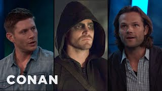 """Stephen Amell wants to do a """"Supernatural/Arrow"""" crossover, but he hasn't quite convinced Jensen and Jared.More CONAN @ http://teamcoco.com/videoTeam Coco is the official YouTube channel of late night host Conan O'Brien, CONAN on TBS & TeamCoco.com. Subscribe now to be updated on the latest videos: http://bit.ly/W5wt5DFor Full Episodes of CONAN on TBS, visit http://teamcoco.com/videoGet Social With Team Coco:On Facebook: https://www.facebook.com/TeamCocoOn Google+: https://plus.google.com/+TeamCoco/On Twitter: http://twitter.com/TeamCocoOn Tumblr: http://teamcoco.tumblr.comOn YouTube: http://youtube.com/teamcocoFollow Conan O'Brien on Twitter: http://twitter.com/ConanOBrien"""