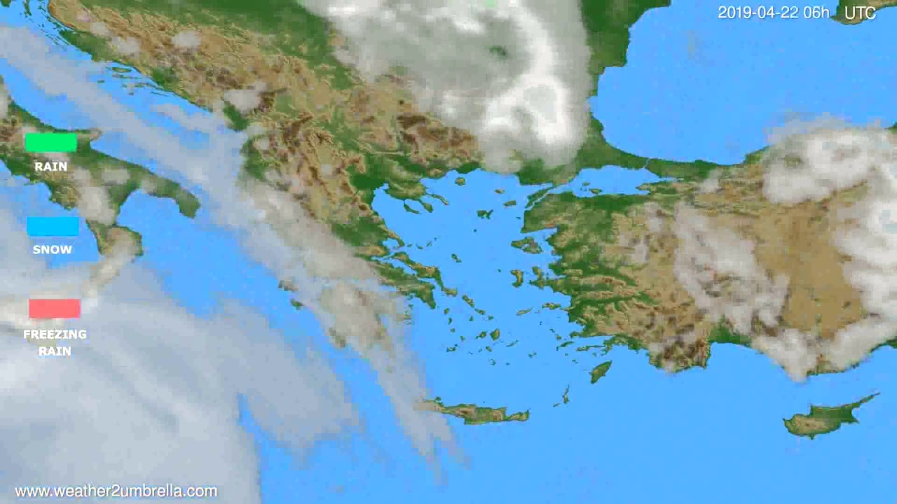 Precipitation forecast Greece // modelrun: 12h UTC 2019-04-19