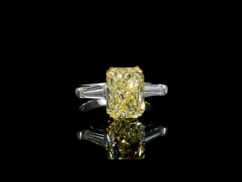 EGL Certified 3.5ct Fancy Yellow Diamond Ring